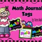 Math journal labels in dog theme (paw prints), monster theme, and owl theme. 4 labels on a page