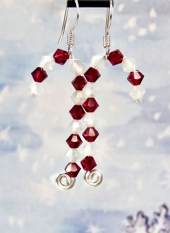 White Opal and Red Ruby Swarovski Crystal Candy Cane Earrings