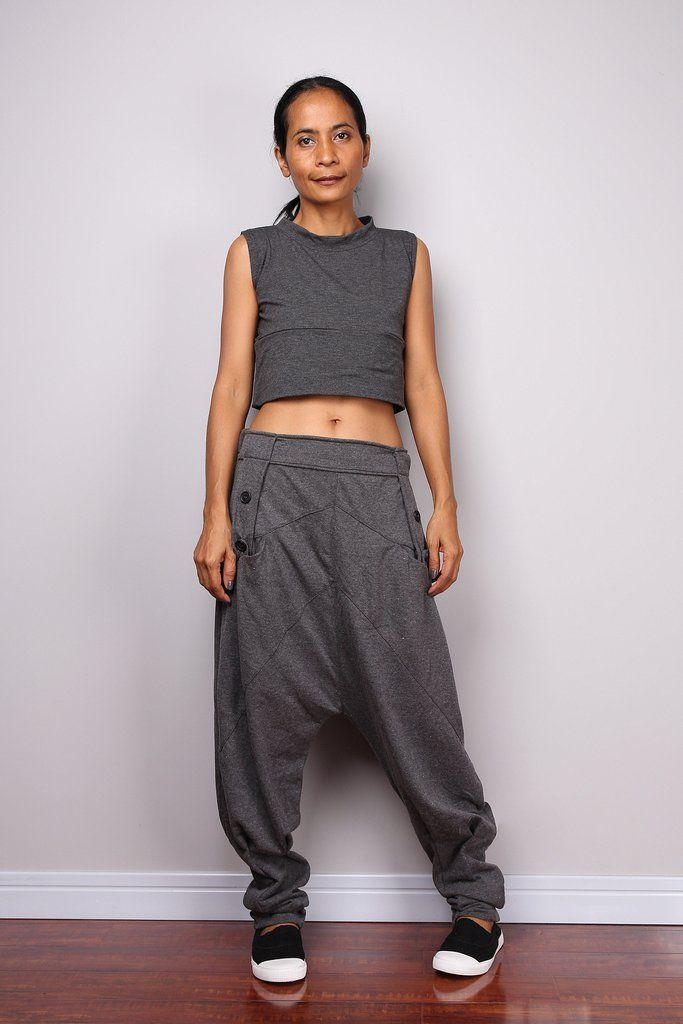 Harem pants, low crotch pants, grey pants, jogger pants, lounge pants