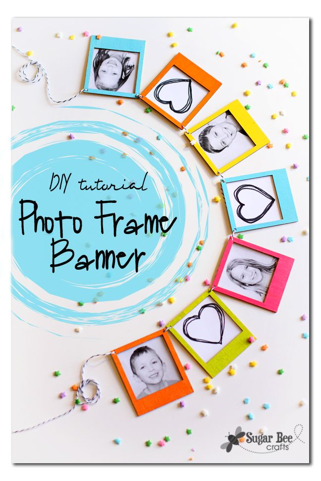 Photo Frame Mini Banner DIY Tutorial looks nice as a scrapbook page too