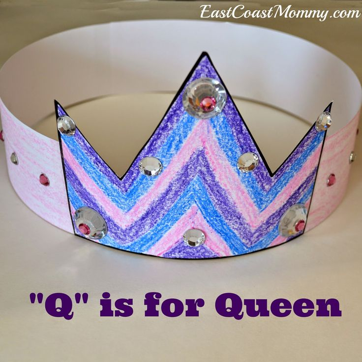 alphabet craft letter q craft free printable crown template included