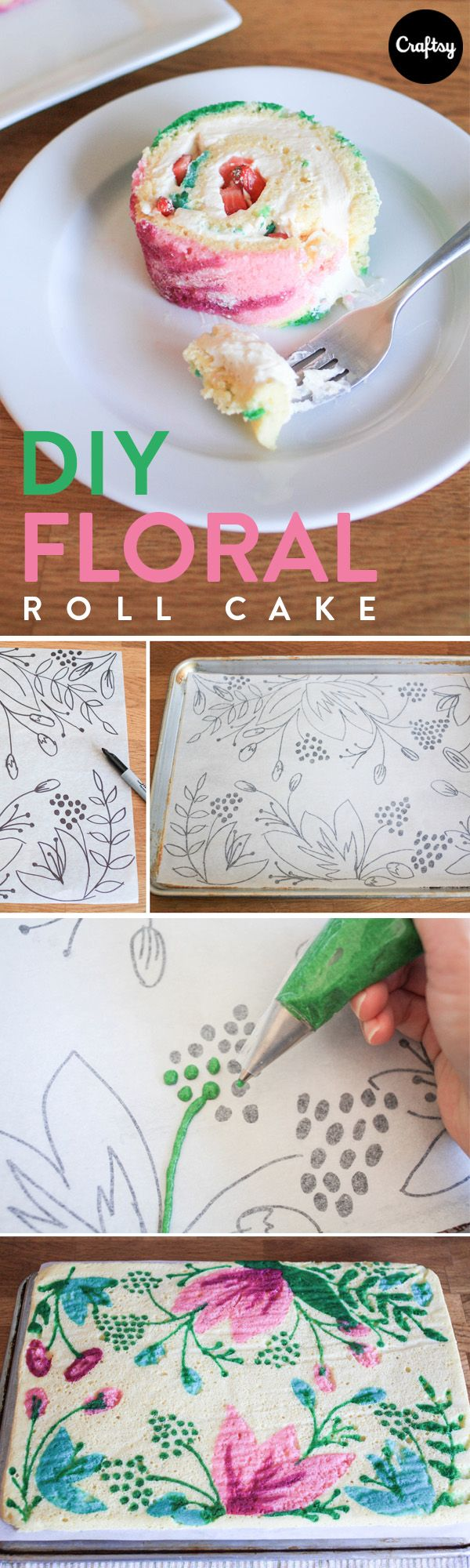 Florals don't have to come in the shape of frosting. This gorgeous, patterned roll cake is easy to make and can be designed before baking!