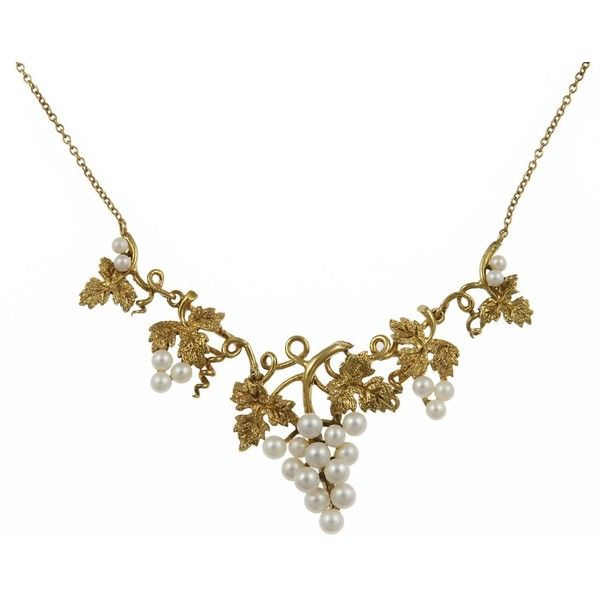 Late Victorian Pearl Gold Grape Cluster Necklace ❤ liked on Polyvore featuring jewelry, necklaces, gold pearl necklace, pearl cluster necklace, pearl drop necklace, gold jewellery and gold drop necklace