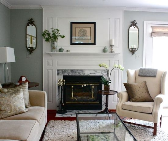Cream sofa neutral gray walls and a white fireplace home interiors pinterest posts - Living room with cream walls ...