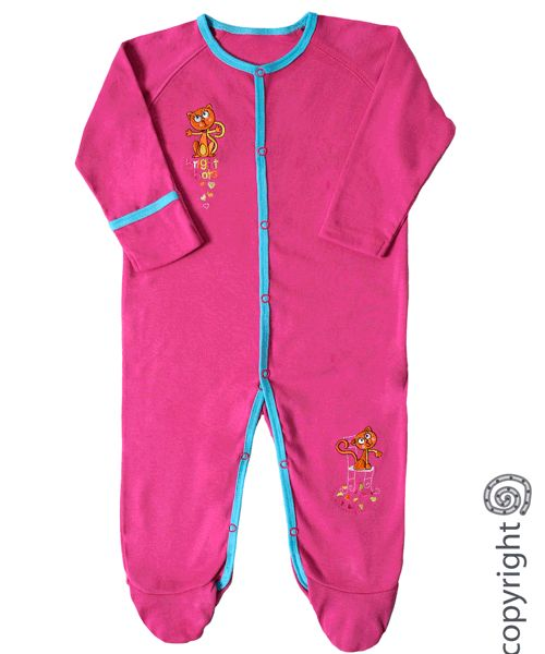 Cotton Rib all in one. Available in Pink, Turquoise, Light Pink or Navy. Sizes 0-3 months to 18-24 months.