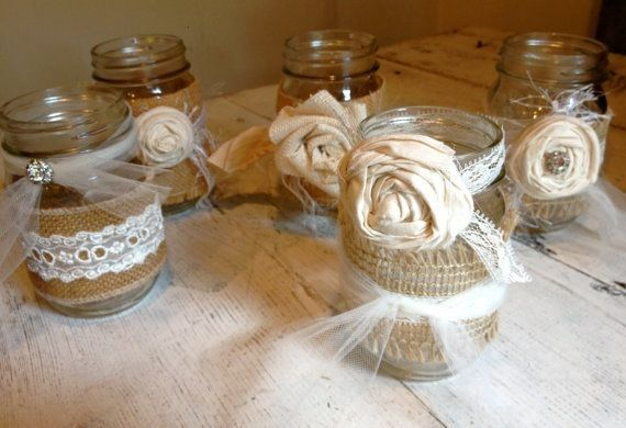 DIY Burlap and lace mason jars with bows and flowers - wedding decorations, homemade mason jars