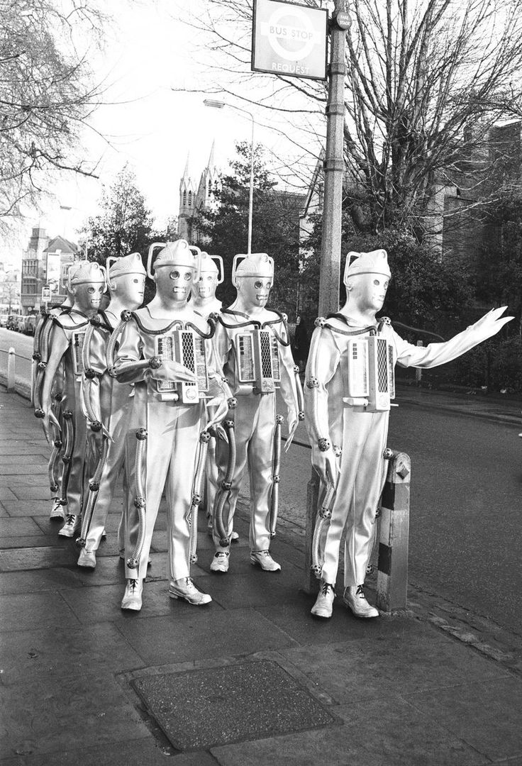 Doctor Who Classic: Cybermen heading home after filming Moonbase at Ealing studios, January 1967...