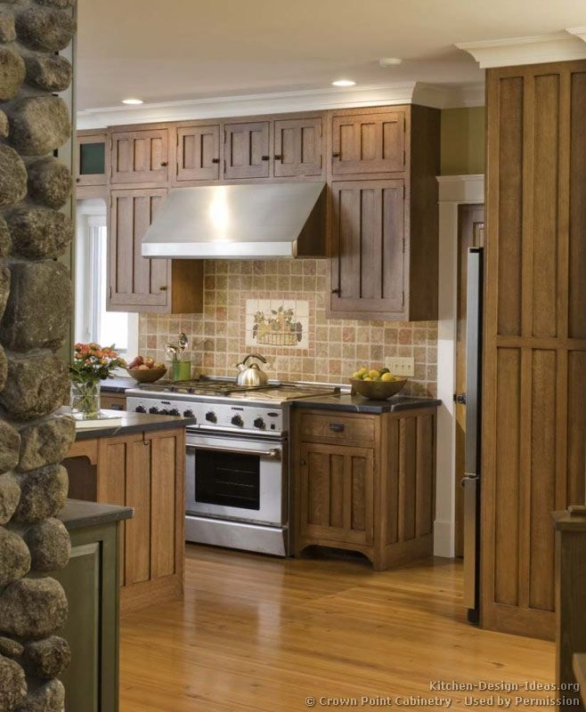 179 best craftsman style kitchens images on pinterest for Two tone wood cabinets