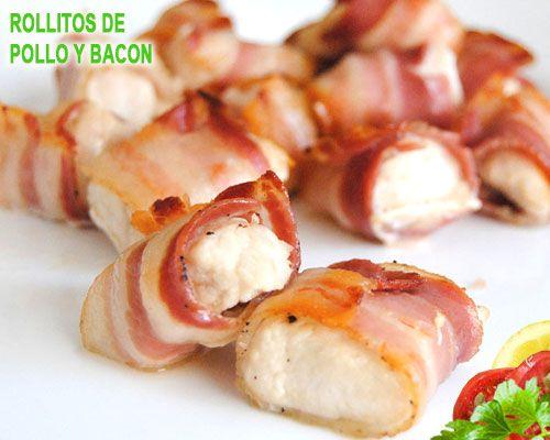 rollitos de pollo y bacon