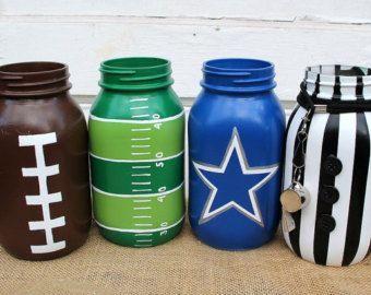 football mason jar set, dallas cowboys mason jars, superbowl party decor