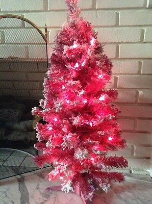 Pink PreLit Artificial Christmas Tree With Flocking 3 Ft Pink Lights NEW
