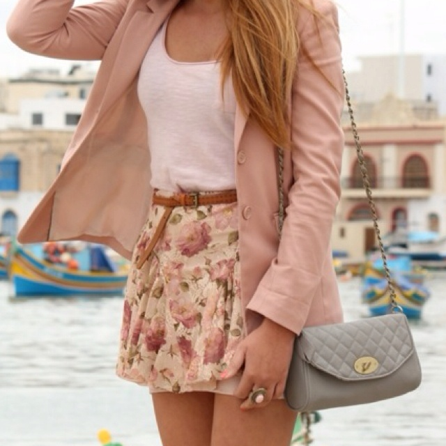 Presh(: : Floral Skirts, Fashion, Style, Clothing, Cute Outfits, Pale Pink, Spring Outfits, Cute Skirts, Pink Blazers
