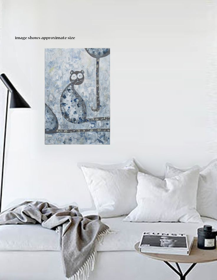CAT TALES An artwork is the perfect way to introduce personality into a space.  This slightly guilty cat,  with big, innocent eyes,  makes you wonder what he doesn't want you to know about.   A humorous  piece to engage you and your visitors.  Geys, blues, creamy yellows and charcoal would complement an  industrial,  scandustrial or contemporary décor.  50.8 x 76.2 x 4 cm
