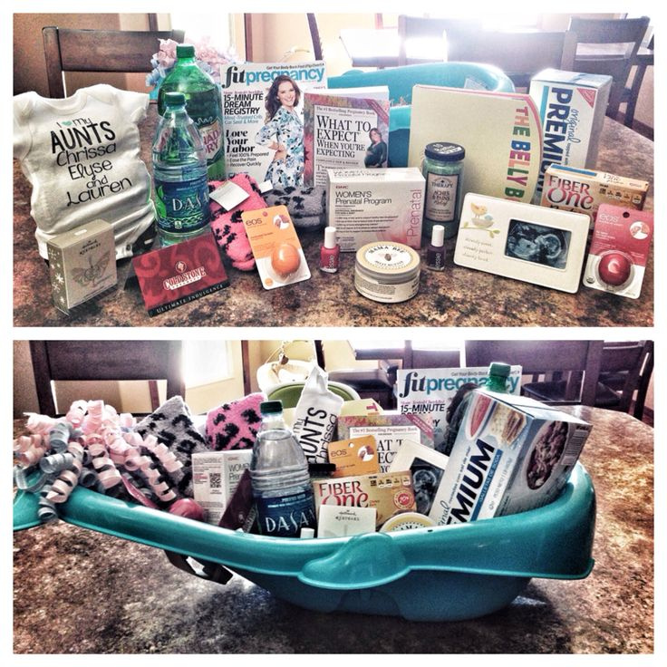 Pregnancy survival kit:  Baby bath tub Pregnancy magazine Stretch mark cream Ginger ale Water Saltine crackers Protein bars EOS lim balm Bath salts Spa socks Nail polish- with baby related names The Belly Book What To Expect When Your Expecting Sonogram frame New mother Christmas ornament  Prenatal vitamins Cold Stone gift card
