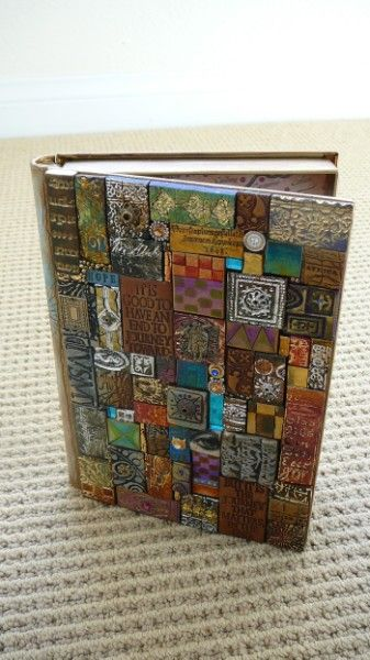 book cover out of polymer clay... or use scraps of paper, fabric, etc. / fun ongoing work in progress