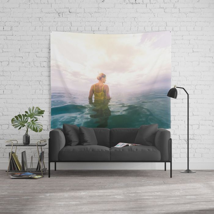 Eutierria Wall Tapestry #eutierria #woman #girl #nature #landscape #sea #ocean #photography #seascape #cloudscape #yellow #dress #homedecor #walltapestry #tapestry #wallart