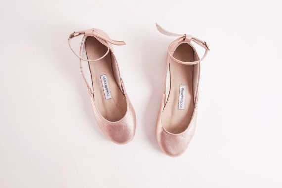 Rose Gold Ballet Flats with Ankle Straps  by thewhiteribbon