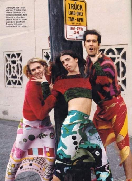Nirvana - Everything about this looks so shockingly early 90s now.  No way you'd have cropped chenille sweaters now, or guys in skirts owning the look like that.