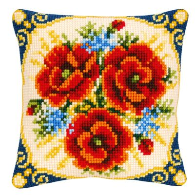 Набор для вышивания подушки Vervaco PN-0009228 Маки и орнамент