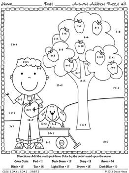 basic addition coloring pages | Autumn Addition ~ Math Printables Color By The Code ...