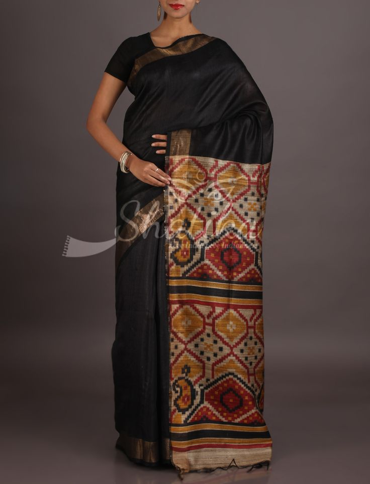 Janhvi Bold Black With Folklore On Pallu Madhubani Handloom Saree