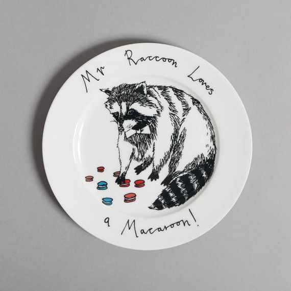 Mr Raccoon loves a Macaroon side plate by jimbobart on Etsy