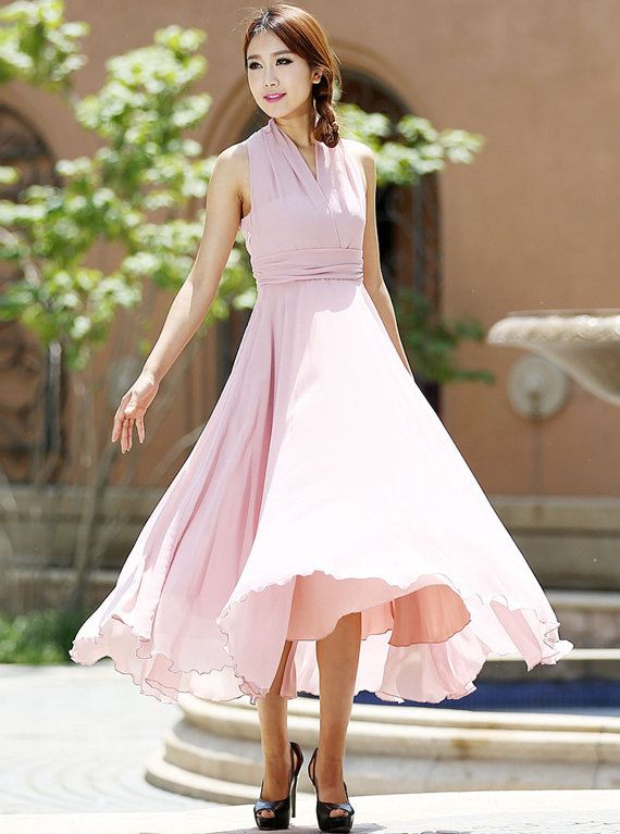 pink dress chiffon dress halter dress wedding dress