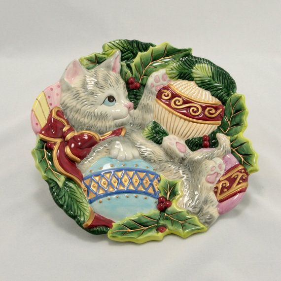 Fitz floyd kristmas kitty cat holiday canape plate by for Fitz and floyd canape plate