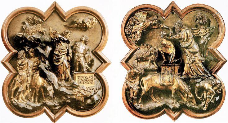 Formelle del concorso del 1401 per la realizzazione delle porte del Battistero rappresentanti il sacrificio di Isacco. A destra quella di Brunelleschi, a sinistra Ghiberti
