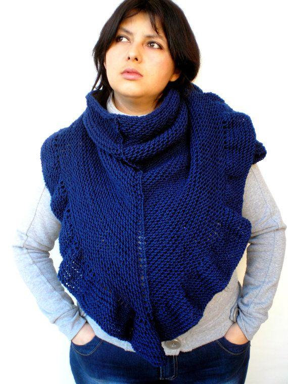 Dark Blue Shawl Hand Knit Triangular Shawl Ruffled by NonnaLia, $85.00