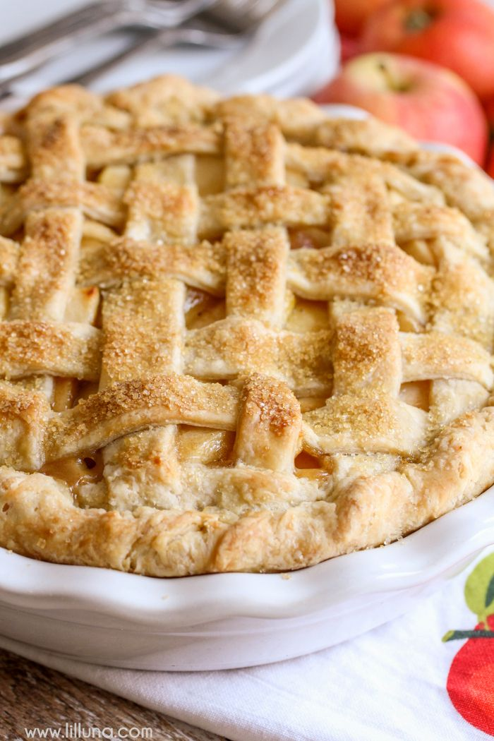 The BEST Homemade Apple Pie recipe - the crust is so flaky and delicious and the apple filling is so YUMMY!! { lilluna.com }