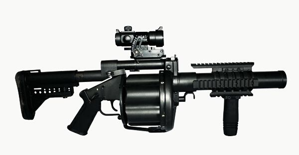 Milkor MGL Mk 1S in black finish fitted with Armson OEG reflex sight - 40x46mm