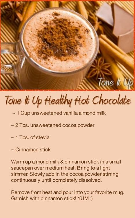 We all love hot chocolate! Here is a healthy alternative that's just as delicious!Tone it up healthy hot chocolate.