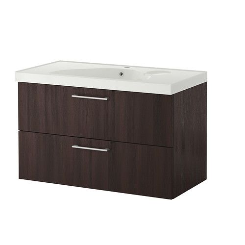 GODMORGON/ EDEBOVIKEN  Sink cabinet with 2 drawers, black-brown  $369.00  The price reflects selected options  Article Number:199.033.96  Smooth-running drawers with pull-out stop. The size of the compartments can easily be adjusted by moving the divider. Read more