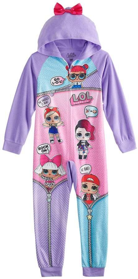 6681ab33e4b Girls 4-10 L.O.L. Surprise! Hooded One-Piece Fleece Union Suit ...