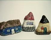 Set of Three Little Transilvanian Cottage Paper Mache II.