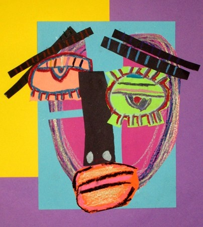 2nd grade Picasso portraits. Students were introduced to the cubist portraits of Pablo Picasso. They learned that he became famous because he invented new ways of making art and that in these portraits he uses very creative ways to show us how people are feeling. We used cut papers and and oil pastels to create these self-portraits in the wild and crazy style of Pablo Picasso.