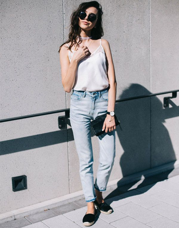 look calça jeans blusa branca básico