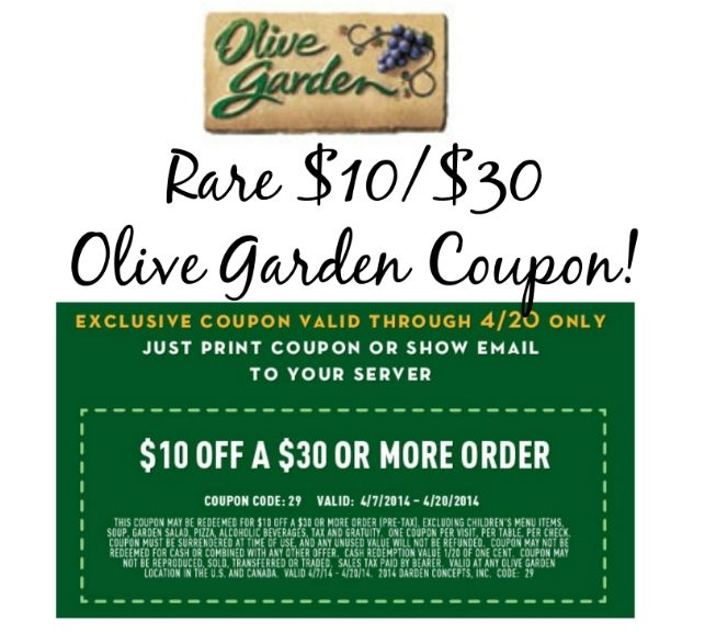 10 30 Printable Olive Garden Coupon