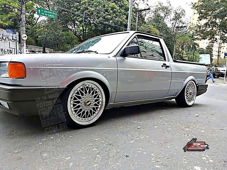 """VW Saveiro prata quadrada rebaixada com BBS 17""""   Static dropped 1993 VW Saveiro with 17-inch BBS RS Replicas"""