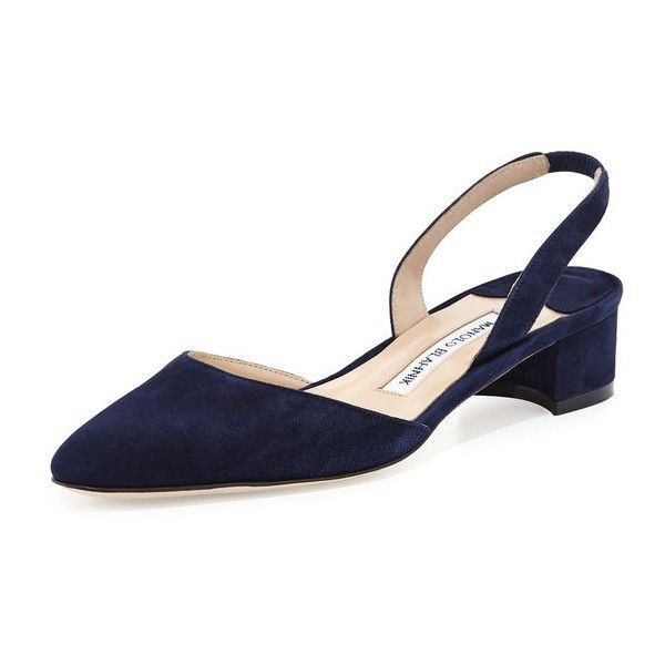 2c517a4a49 Manolo Blahnik Aspro Suede BlockHeel Slingback Pump ($675) ❤ liked on  Polyvore featuring shoes, pumps, flats, navy, suede block heel pumps, navy  blue suede ...