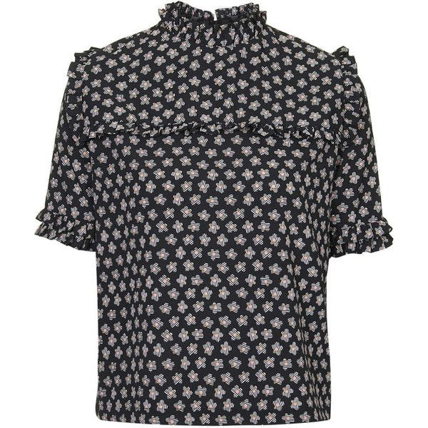 TopShop Ruffle Floral Tee ($49) ❤ liked on Polyvore featuring tops, t-shirts, topshop, black, floral print t shirt, black floral t shirt, floral graphic tees, black ruffle top and floral top