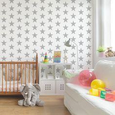 Kinderzimmer Tapeten - Vliestapeten Premium - No.YK43 Sterne wei� - Fototapete Quadrat