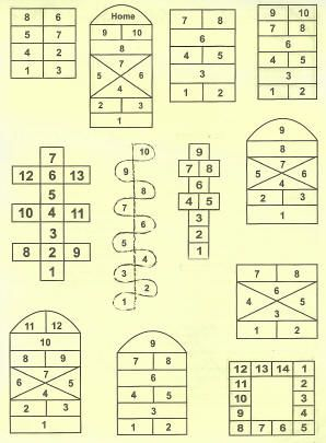 variety of hopscotch designs