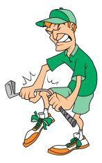 Angry golfer vector art illustration