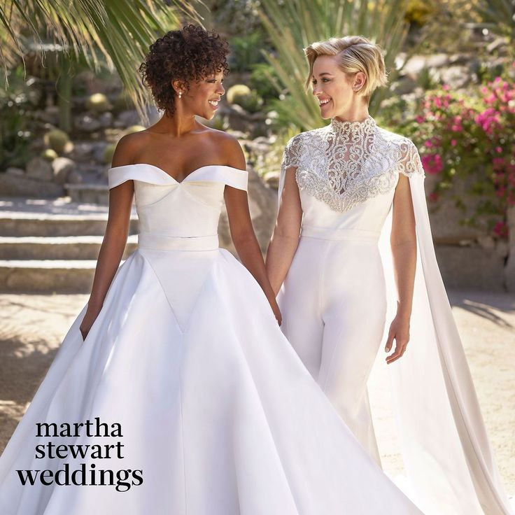 Orange is the New Black actress Samira Wiley and writer Lauren Morelli tie the knot in a gorgeous Christian Siriano's off the shoulder ball gown wedding dress and an elegant embroidered caped...