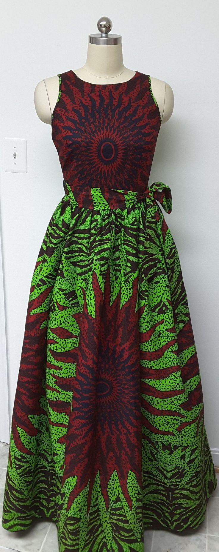 Impresión africana dispone de cintura sin mangas vestido nuevo