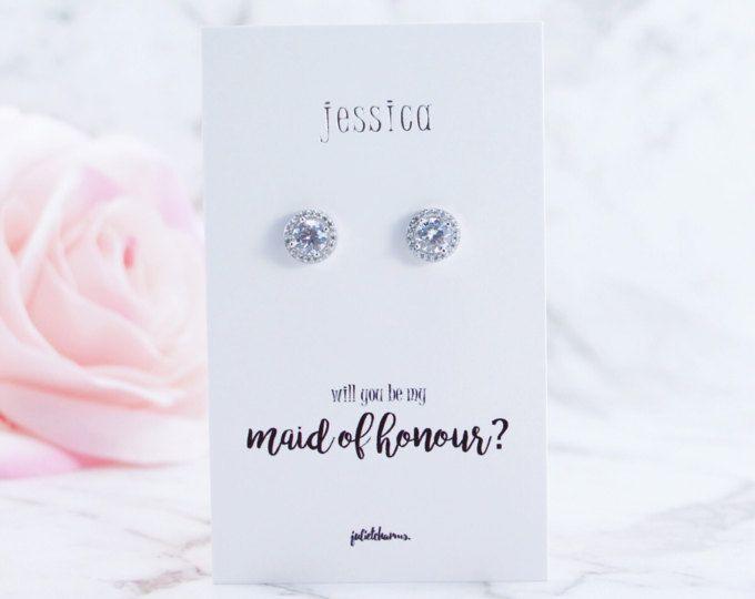 Platinum CZ Earrings, Bridesmaid Earrings, Bridesmaid Gift, Be My Bridesmaid, Bridal Party, Bridesmaid Proposal, Maid of Honour, Flower Girl