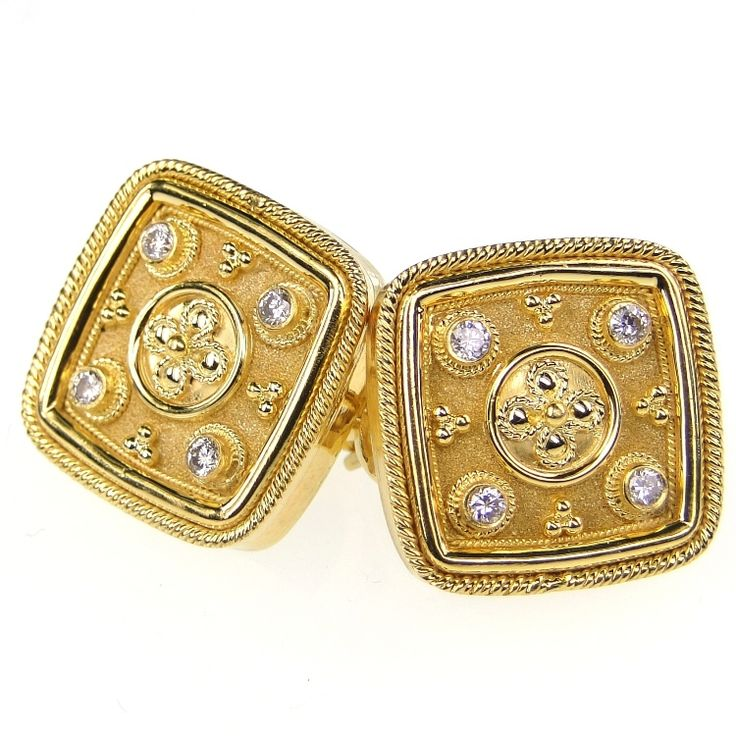 Damaskos 4 Diamond Cushion Face Cuff Links, 18k Gold and Diamonds. Athena's Treasures: http://www.athenas-treasures.com/