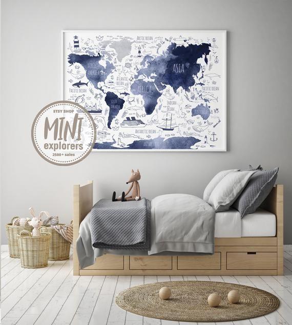 Printable world map Globe poster Watercolor world map Nautical boy gift Nautical nursery art Boys room wall art Navy blue map for kids